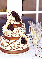 Brown swirl fondant wedding cake.