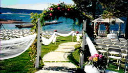 Destination wedding package bridal arch with flowers.